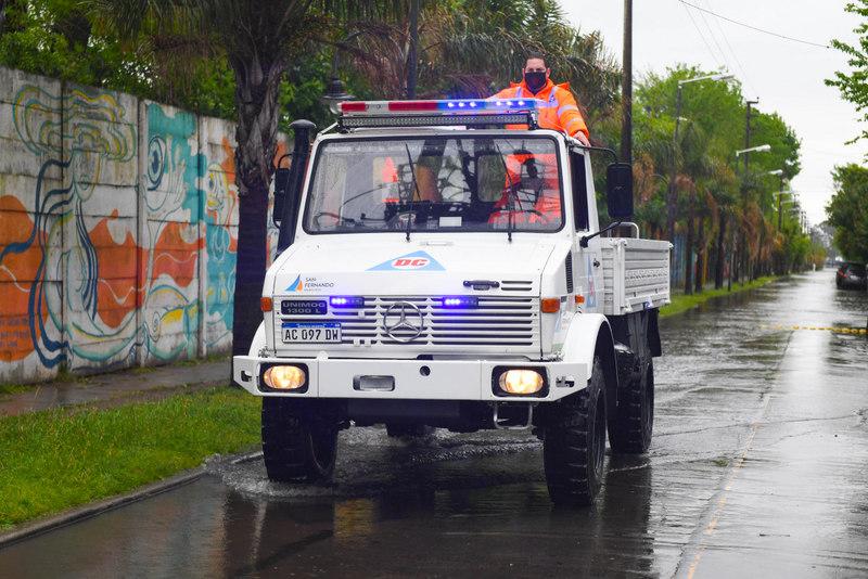 El COEM de San Fernando realizó tareas preventivas frente al alerta por tormentas fuertes y sudestada
