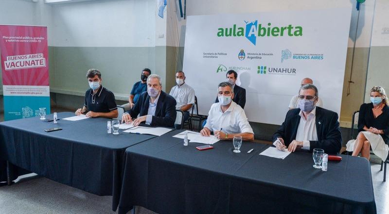 Zabaleta y Perczyk firmaron un convenio para dotar de medidores de dióxido de carbono a las escuelas de Hurlingham