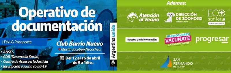 San Fernando y la Nación desplegarán un operativo de documentación y servicios en el Club Barrio Nuevo