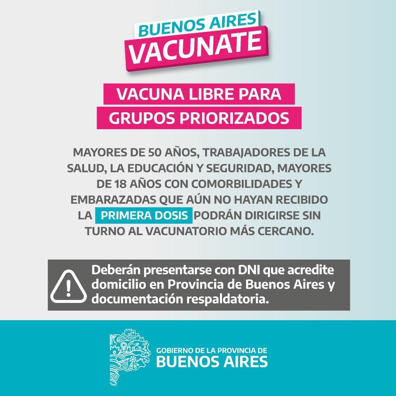 Provincia amplia desde mañana la Vacunación Libre