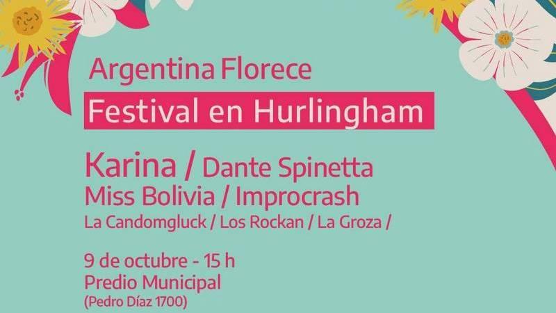 "Karina, Dante Spinetta y Miss Bolivia tocan gratis este sábado en Hurlingham, en el Festival ""Argentina Florece"""