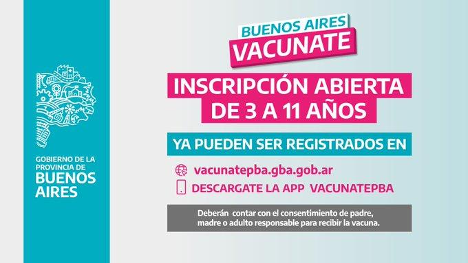 La Provincia abrió la Inscripción para Vacunar a Menores de 3 a 11 años
