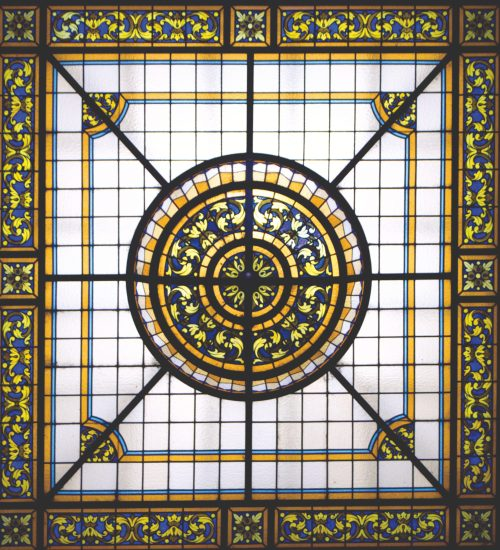 stain glass ceiling in foyer