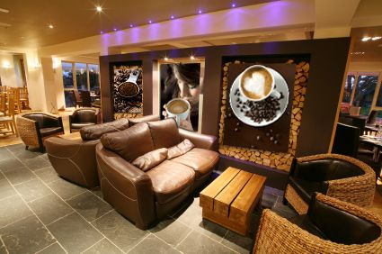 Leather sofa in Bar Area
