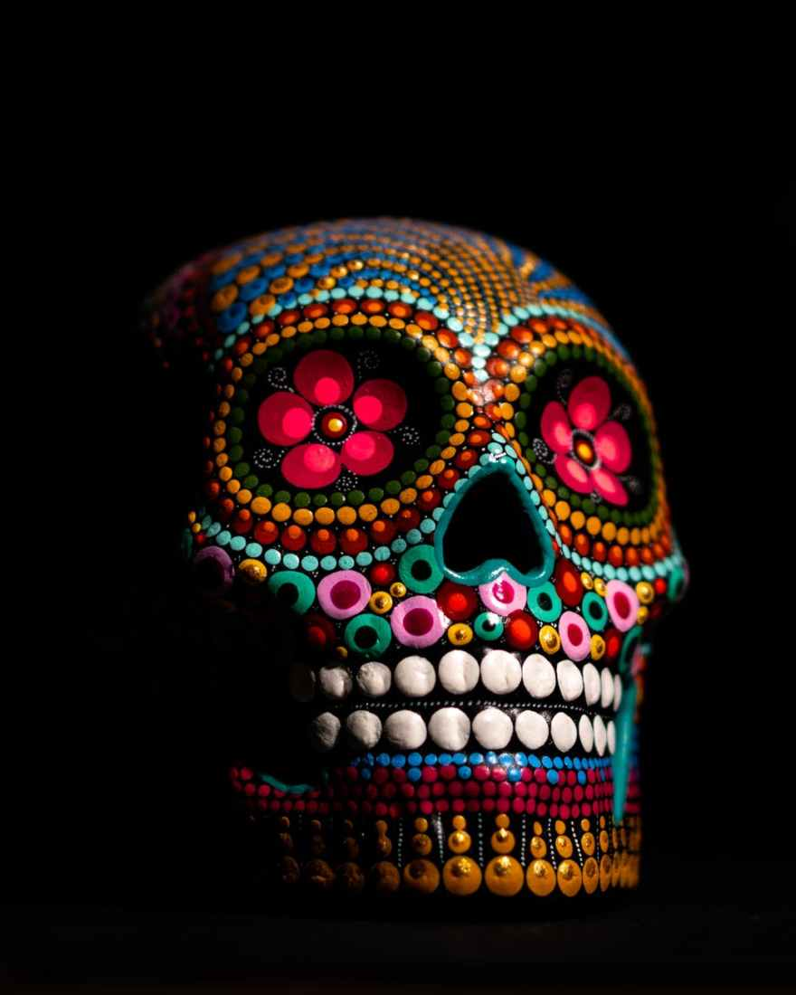multicolored skull decor