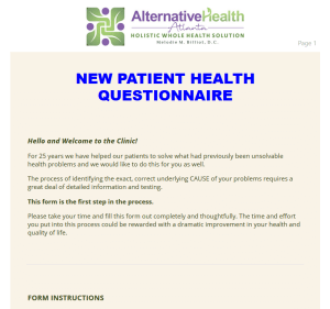 New Patient Health Questionnaire