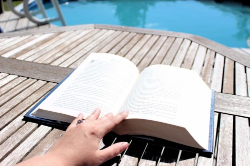 reading, read, book, reading by the pool, reading outdoors