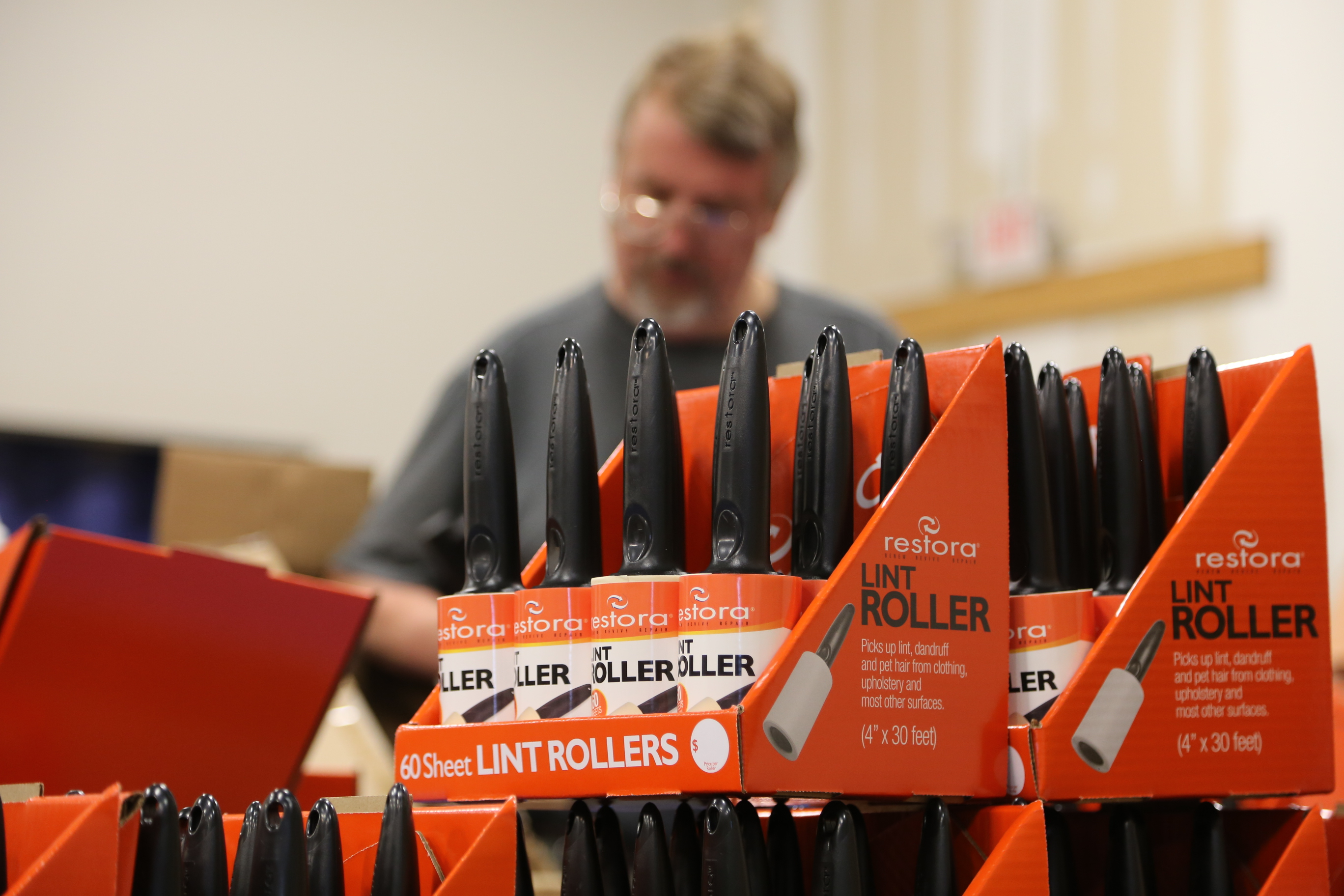 Restora Lint Rollers being repackaged at Alternatives Industry