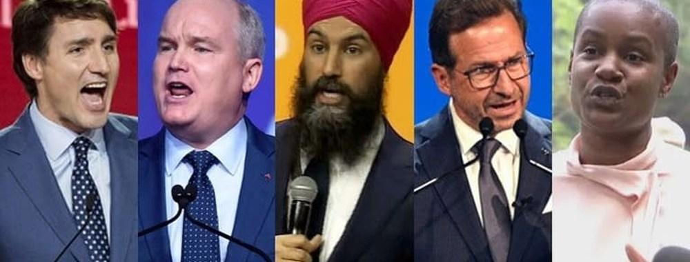 Chefs des principaux partis fédéraux en 2021