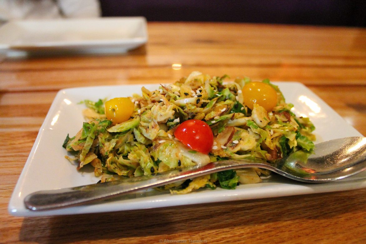 Brussel Sprouts at Zest, one of the best vegan restaurants in Salt Lake City