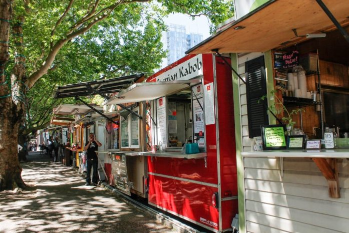 Food carts in Downtown Portland.