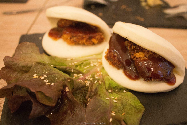 vegan bao at Chilling Cafe in Madrid, Spain