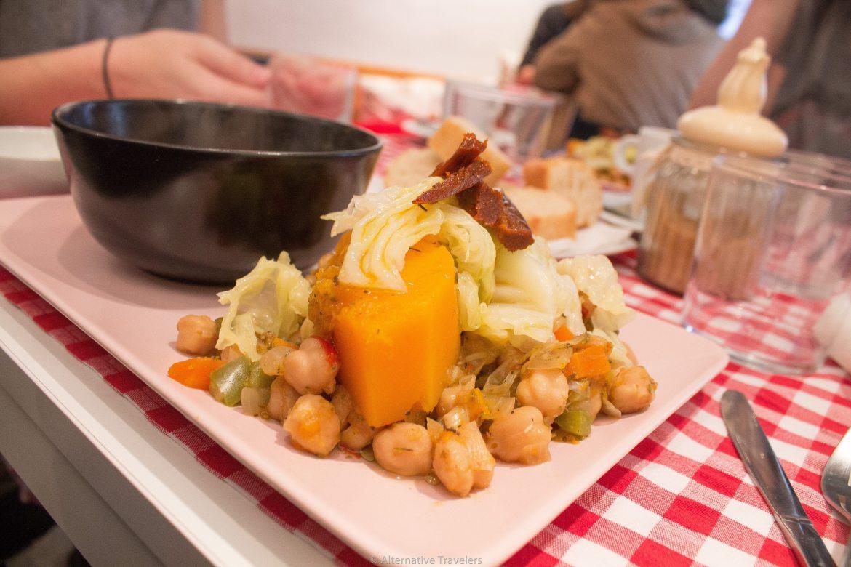 authentic madrid stew at Distrito Vegano in Madrid, Spain