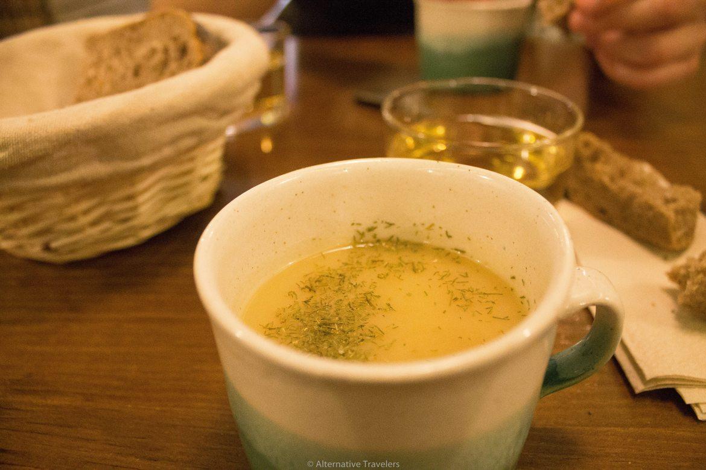 cup of soup at La Encomienda in Madrid Spain