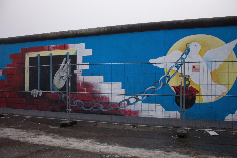 Dove on a Chain Mural - Berlin Wall Art | AlternativeTravelers.com