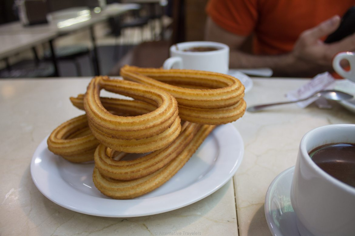 Vegan Churros at Los Artesanos 1902 in Madrid Spain