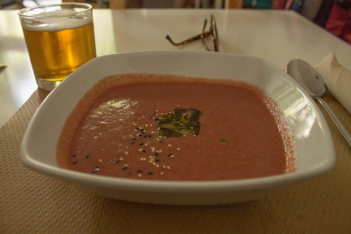 Gazpacho at Nomit, a vegan restaurant in Valencia, Spain