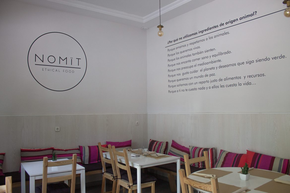 Interior of Nomit, a vegan restaurant in Valencia, Spain.