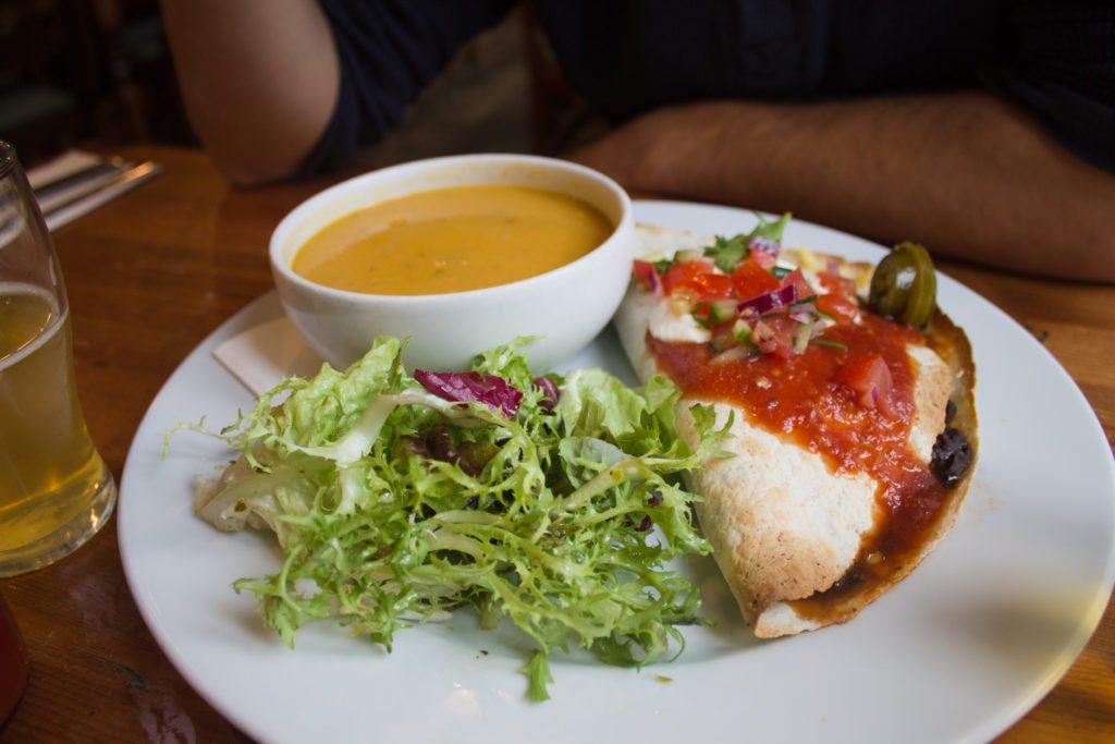 vegan quesadilla at the 78, a vegan restaurant in Glasgow