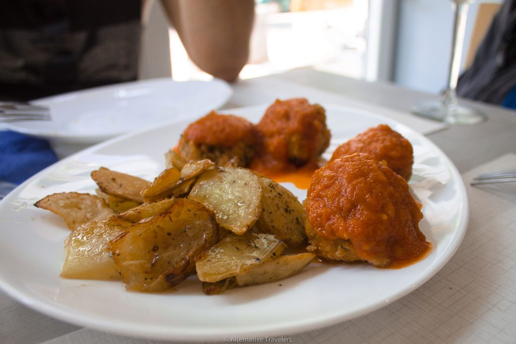 homemade meatballs at Empatia Rincon Vegano, Madrid Spain