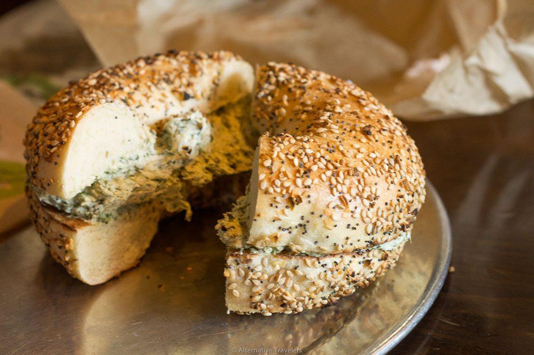 Brooklyn Bagel - bagel with vegan cream cheese