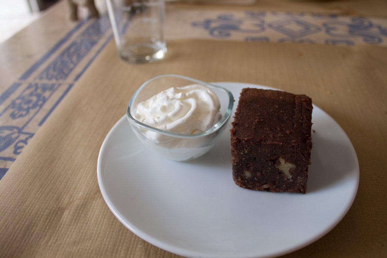 vegan brownie and vegan whipped cream at Hakuna Matata Veggie