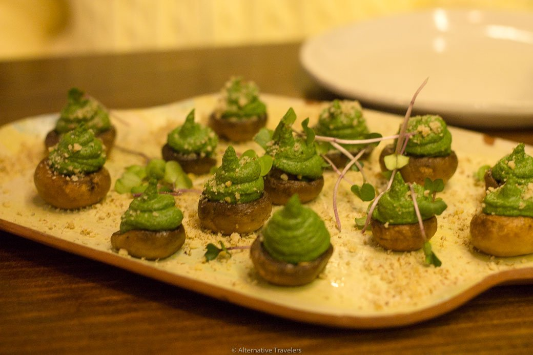 Vegan stuffed mushrooms at La Encomienda in Madrid, Spain