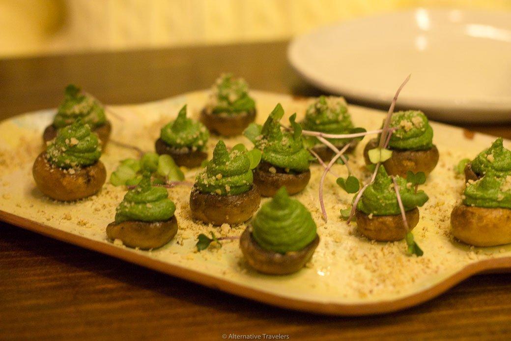 Vegan stuffed mushrooms at La Encomienda in Madrid, Spain