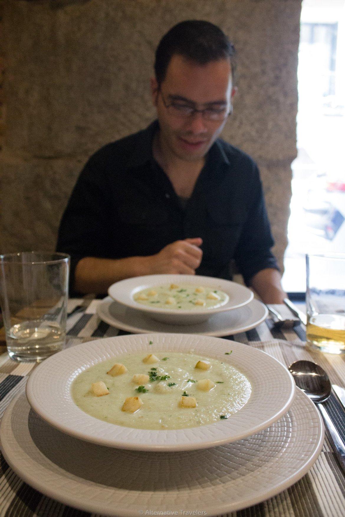 vegan cucumber soup at Landareak in Madrid, Spain