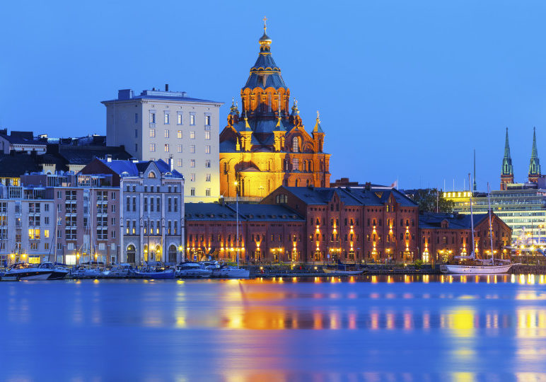 Scenic evening summer view of Uspensky Cathedral in the Old Town in Helsinki, Finland