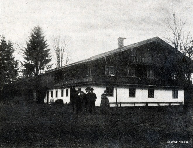 Daxerhof um 1900, mit damaligen Besitzern Schlosser. Das Haberfeldtreiben. Rügegericht im Bayerischen Oberland.