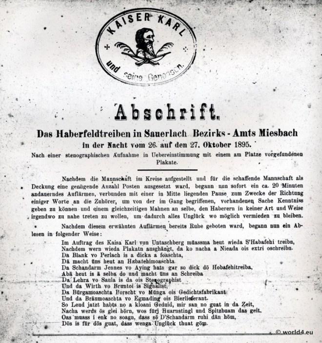 Kaiser Karl von Untersberg (Untaschberg). Haberfeldtreiben, Sauerlach, Amt Miesbach, 1895 (Auszug)