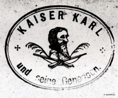 Haberfeldtreiben. Kaiser Karl von Untersberg (Untaschberg). Oberbayerischer Brauch. Bayerisches Brauchtum, Sühnegericht.