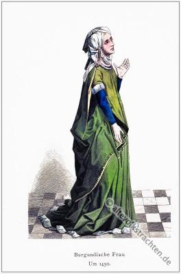 Burgundische Frau, Renaissance, Historische Kleidung, Kostümgeschichte, Modegeschichte, Kostüm,