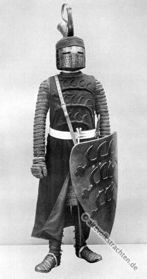 Ritterrüstung. Ritterkostüm. Mittelalter Ritter. 13. Jahrhundert Soldat.
