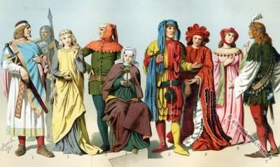 Mittelalter Kostüme. Gotik Gewandung..