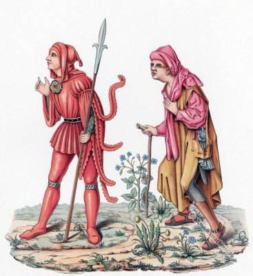 Gerichtsdiener Bauern Gewandung. Mittelalter Modegeschichte. Burgundische Mode. Gotik Kostüme