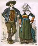 Französische Volkstrachten der Bretagne im 19. Jahrhundert.