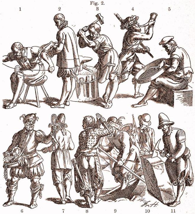 Kostüme, Handwerkertrachten, 16. Jahrhundert, Renaissance, Jost Amman,