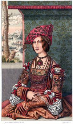 Deutsche Kaiserin, Bianca Maria Sforza, Blanka Maria, Renaissance, Mode, Kostüm, 15. Jahrhundert, Modegeschichte