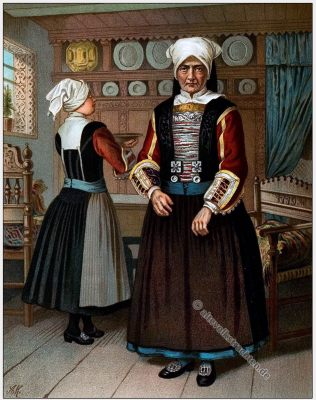 Schleswig Holstein, Tracht, Trachten, Volkstrachten, Albert Kretschmer, Kostümkunde, Modegeschichte, historische Kleidung