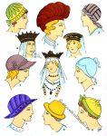 Kopfschmuck, Kopfbedeckung, Hüte und der Merowinger.