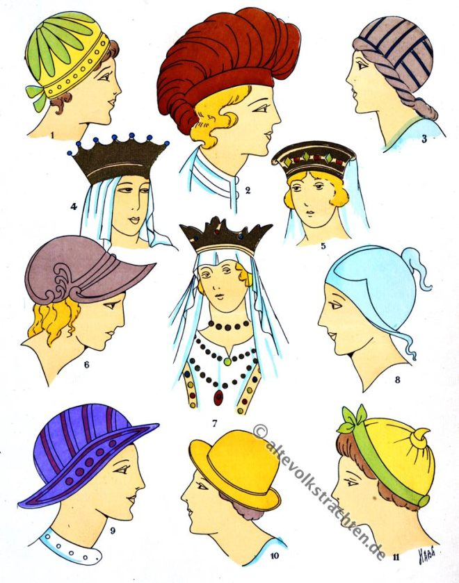 Hüte, Kopfbedeckung, Kopfschmuck, Merowinger, Gallier, Modegeschichte, Kostümkunde, 5. Jahrhundert, Kelten, Gallien, Kostüme, Paul-Louis de Giafferri