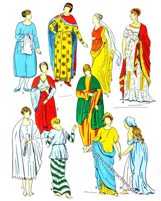 Röcke, Gewänder, Gewandung, Kleidung, Merowinger, Gallier, Modegeschichte, Kostümkunde, Antike, Kelten, Gallien, Kostüme, Paul-Louis de Giafferri