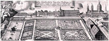 München, Kupferstich, Residenzgarten, Topographia, Michael Wening, Barock,