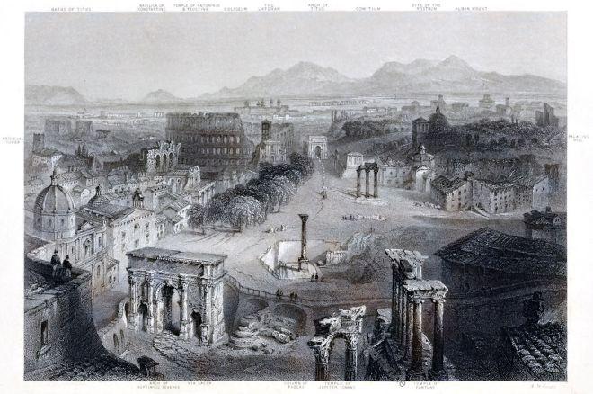 Das antike Rom vom Kapitolshügel aus. Blick über das Forum.
