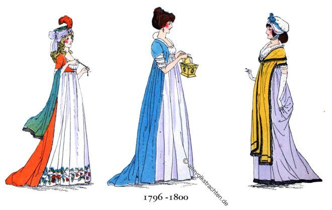Mode, Empire, Kostüme, Regency
