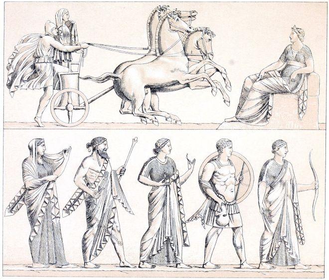 Griechenland, Antike, Viergespann, Quadriga, Götter, Muse,