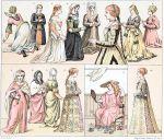 Italienische und holländische Modetypen. Edeldamen vom 14. bis 16. Jh.