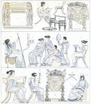 Griechisch-Römisches Mobiliar. Thronsessel, Bisellium, Klismos.